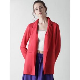 FOREVER 21 Open-Front Red Longline  Casual Blazer