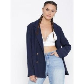 FOREVER 21 Navy  Casual Double-Breasted Blazer
