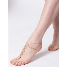 Chika Chain Gold-Toned Anklet with Toe Ring