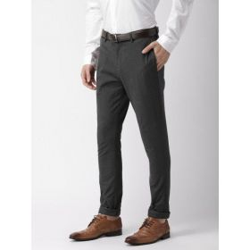 Puma Grey Slim Fit Checked Formal Trousers
